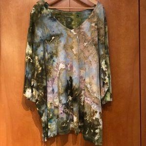 Custom Tie Dye V-Neck Tunic Women's Plus 42/44